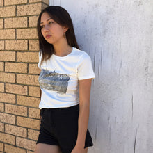 Model wearing New York print white T shirt size Small