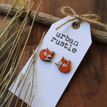 Sleepy fox wooden stud earrings