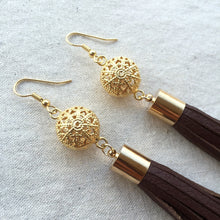 Medium brown leather tassel earrings with gold filigree