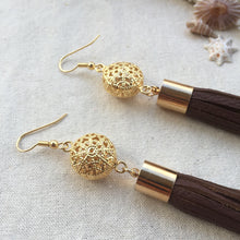 Milk Chocolate brown leather tassel earrings with gold filigree