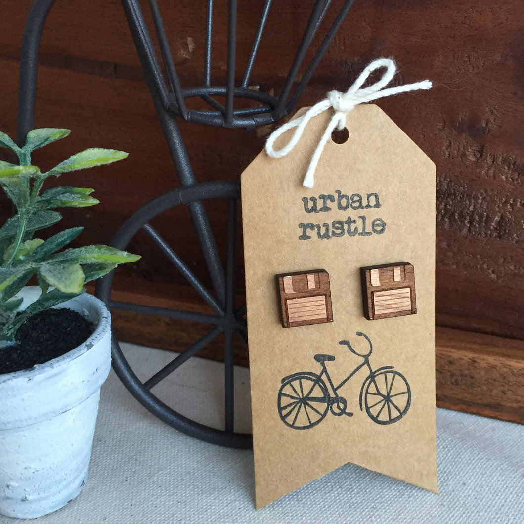 Wooden floppy disk stud earrings