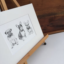 Pug, Boston Terrier, French Bulldog fine art print on artist easel