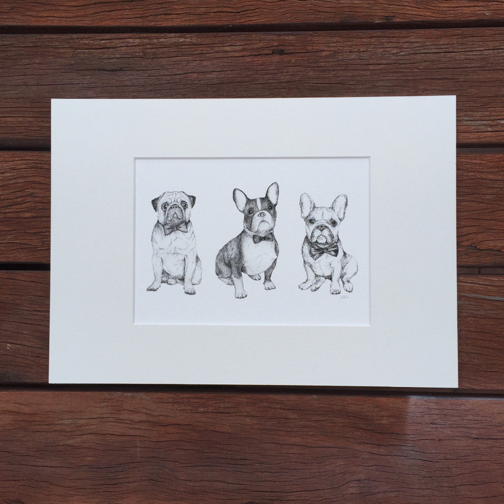 Black and white dog drawing fine art print