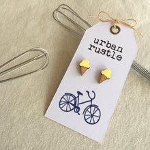 Light yellow ice-cream wooden stud earrings