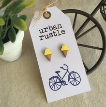 Lemon Yellow ice-cream wooden stud earrings