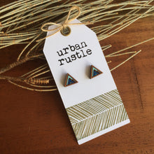 Blue mountain geometric wooden stud earrings
