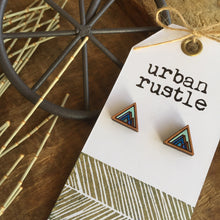 Blue mountain geometric wooden earrings detail view