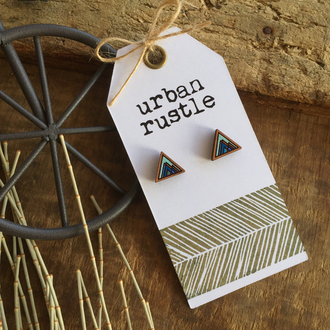 Blue mountain geometric wooden earrings
