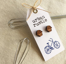 Wooden cupcake shaped dessert stud earrings