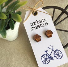 Wooden Iced cupcake, muffin stud earrings