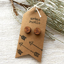 Geometric bird tribal wooden stud earrings