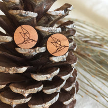 Geometric bird round wooden stud earrings