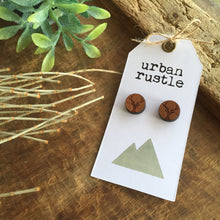 Wooden round elk animal stud earrings