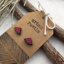 Pink watermelon wooden stud earrings