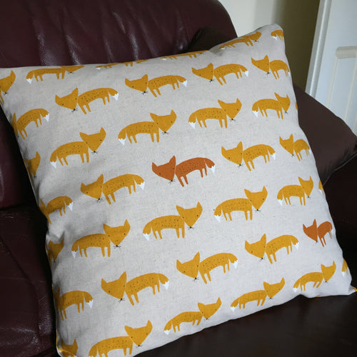 Orange fox print animal handmade cushion cover