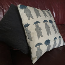 Blue bear with umbrella animal print cushion cover