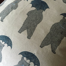 Blue bear with umbrella animal print cushion cover detail view