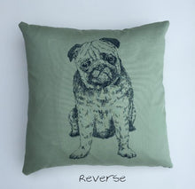 Green Pug breed dog print kid's cushion cover