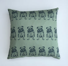 Green Pug breed dog print cushion cover