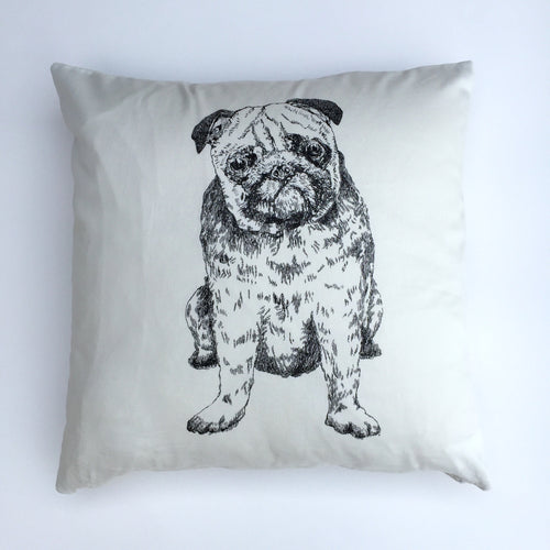 Pug dog breed white cushion cover