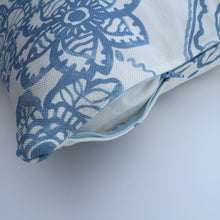 Blue floral print cushion cover with YKK zipper