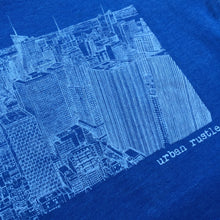 Blue and white New York print T shirt