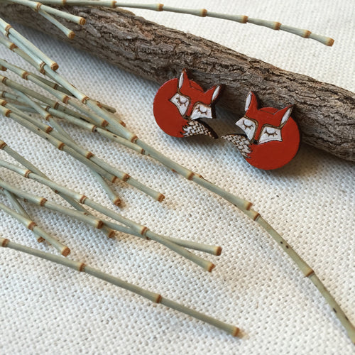 Reddish orange and white fox earrings