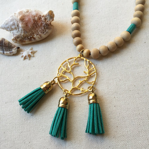 Turquoise green tassel wooden beaded necklace
