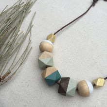 Mint green wooden geometric necklace