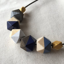 Handpainted blue gold wooden geometric necklace