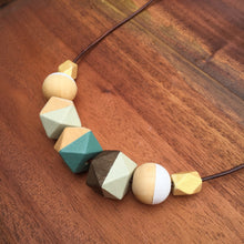 Mint Green Viridian Green wooden beaded necklace