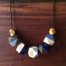 Blue and gold geometric wooden cotton cord necklace