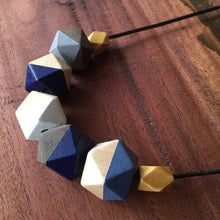 Blue and gold geometric wooden necklace