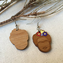 Frida Kahlo face wooden drop earrings front and back view