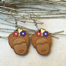 Frida Kahlo face wooden drop earrings, purple flowers