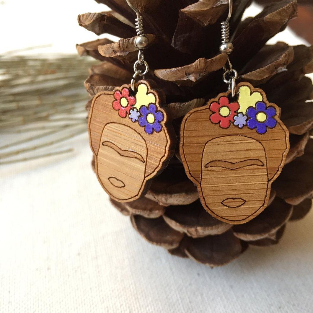 Frida Kahlo face wooden drop earrings