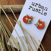 Sleeping fox wooden stud earrings
