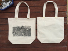 New York City skyline print tote bag front and back