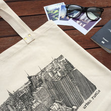 New York City black and white print tote bag