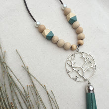 Wooden beaded necklace with Viridian green tassel