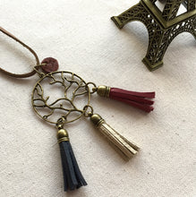 French Flag Genuine leather tassel necklace with antique bronze charm