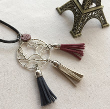 French Flag Genuine leather tassel necklace with silver charm