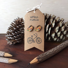 Artist Palette wooden stud earrings with pencils and pinecones