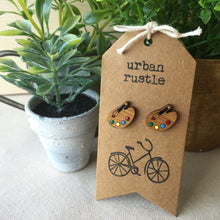 Artist Palette wooden stud earrings in garden