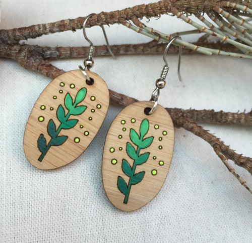 Green leaf wooden drop earrings with hypoallergenic earwires