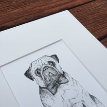 Black and white Pug fine art print