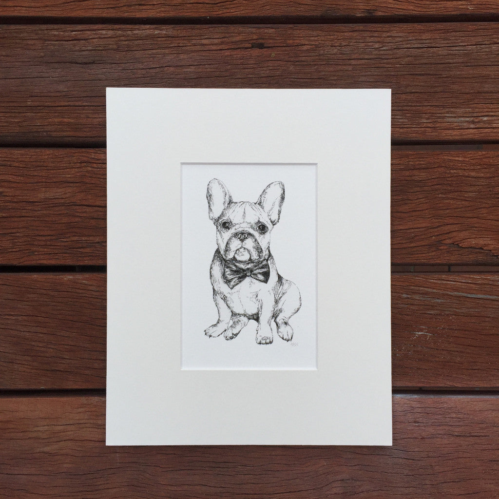 French Bulldog black and white fine art print, artist signed