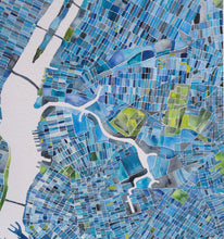 New York city grid watercolor map painting