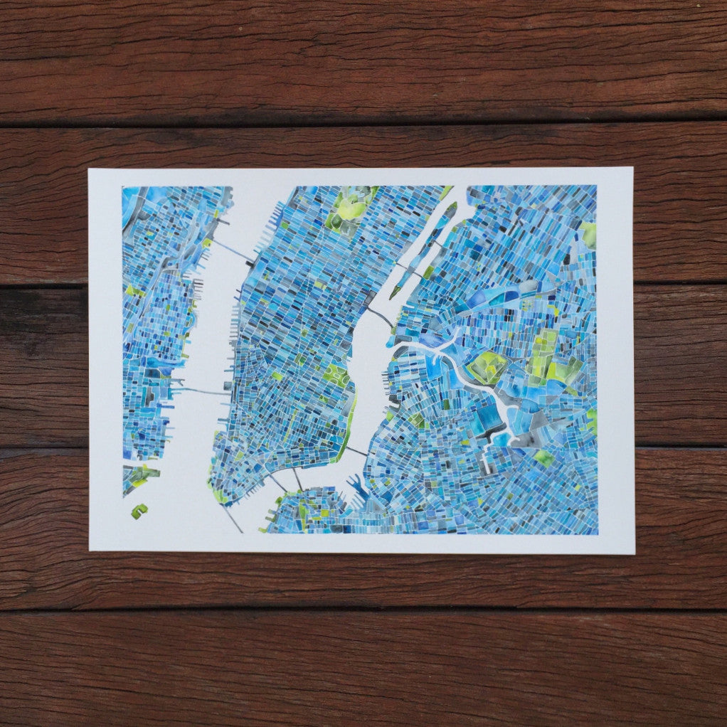 Watercolour New York Manhattan map fine art print