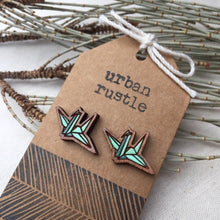 Mint Green origami paper crane stud earrings